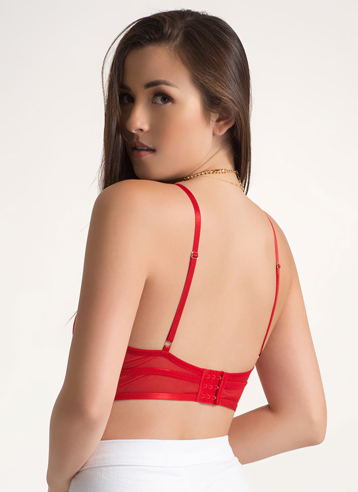 Hot Mesh Caged Triangle Bralette RED