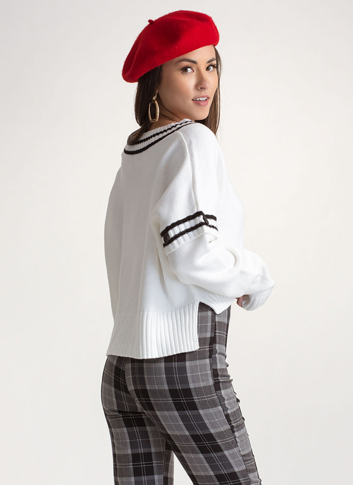 Tennis Match Convertible Sweater OFFWHITE