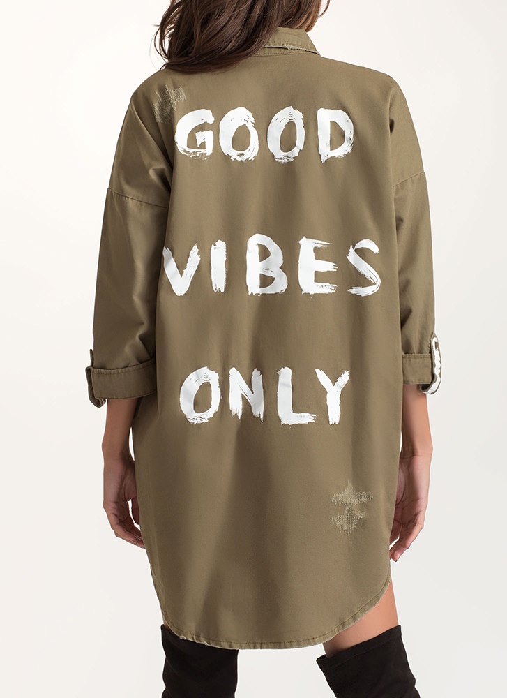 Good Vibes Only Oversized Twill Jacket OLIVE