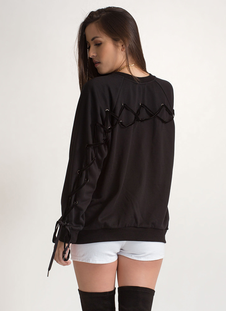 Luxe Love Oversized Lace-Up Sweatshirt BLACK