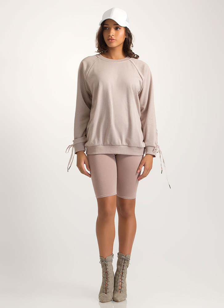 Luxe Love Oversized Lace-Up Sweatshirt TAUPE