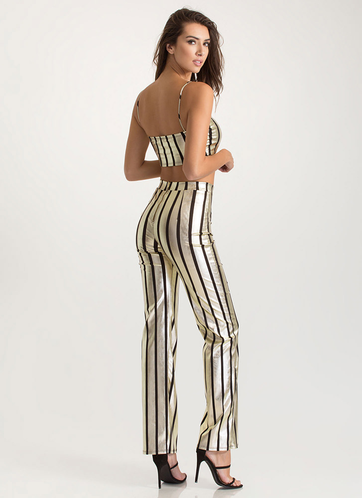 Stylish Gleam Striped Two-Piece Jumpsuit BLACKGOLD