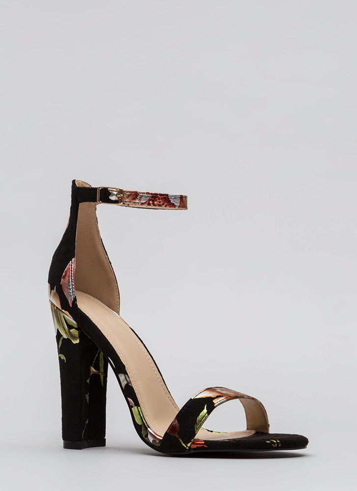 Foiled Flowers Chunky Ankle Strap Heels BLACK