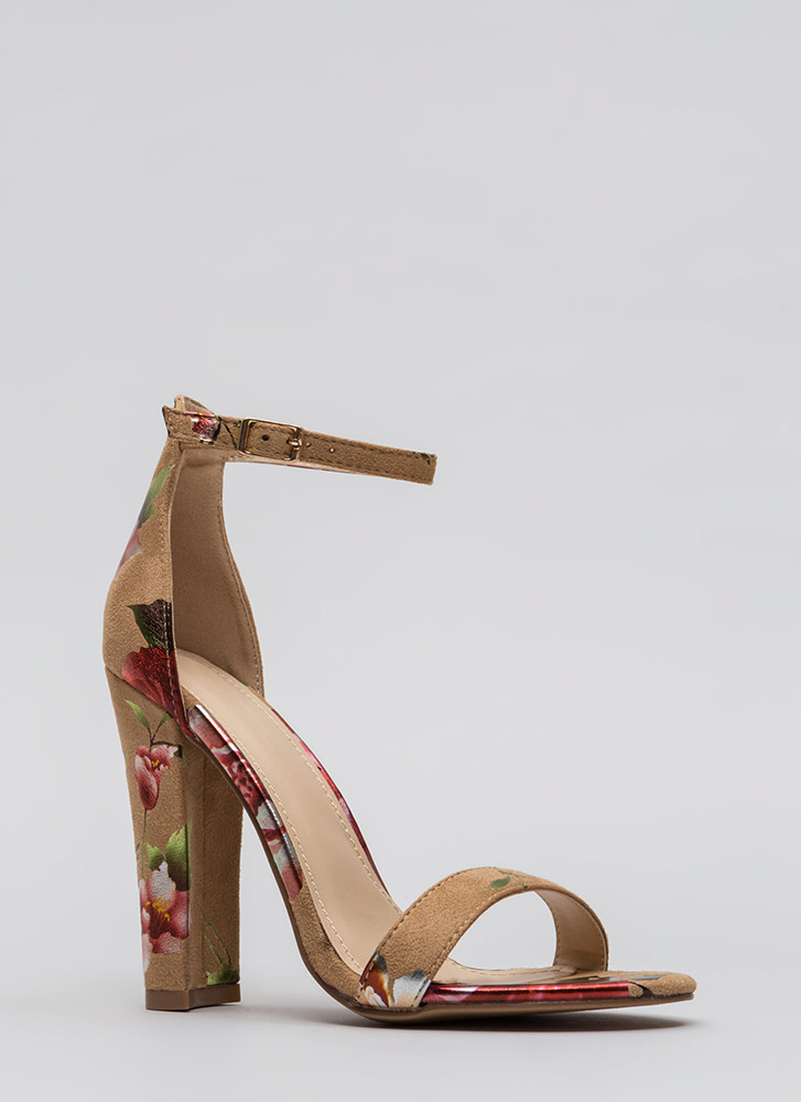 Foiled Flowers Chunky Ankle Strap Heels CAMEL