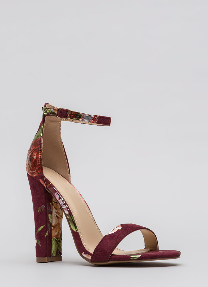 Foiled Flowers Chunky Ankle Strap Heels WINE