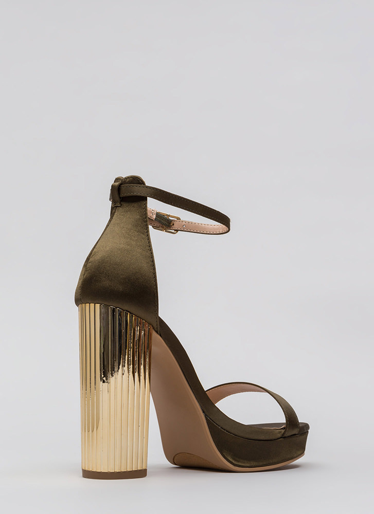 Pillar Queen Chunky Satin Platforms OLIVE