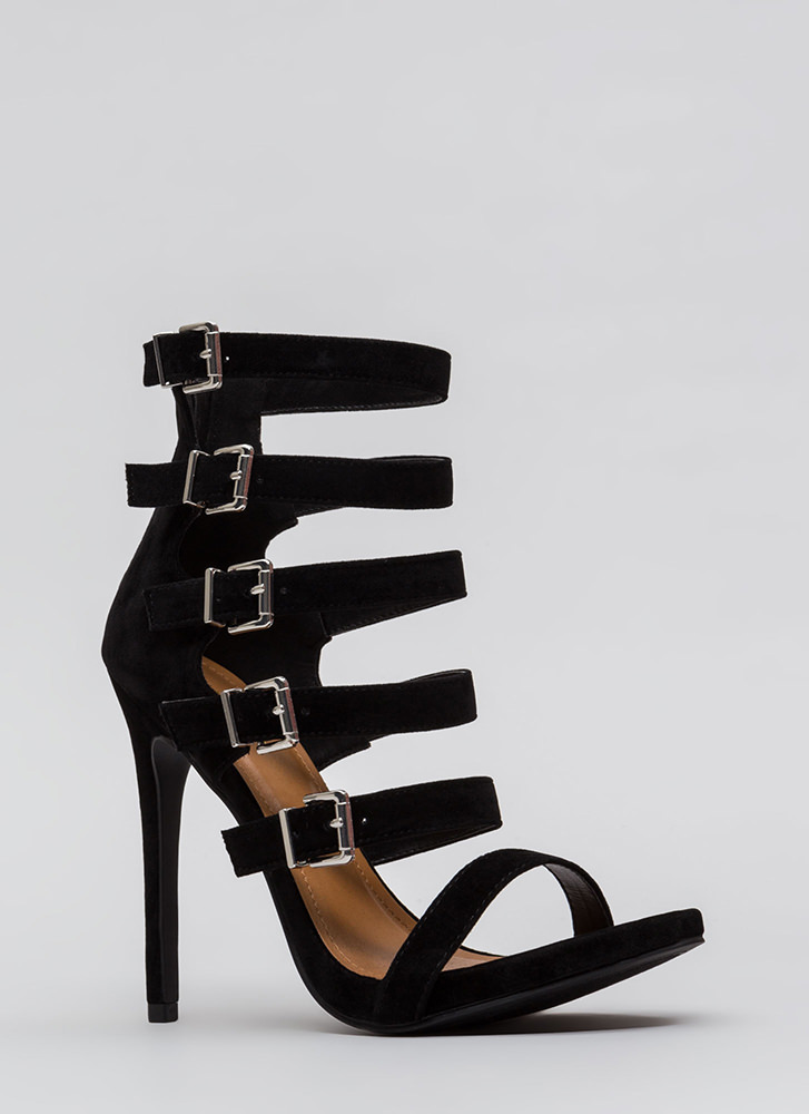 Would You Ladder Strappy Caged Heels BLACK