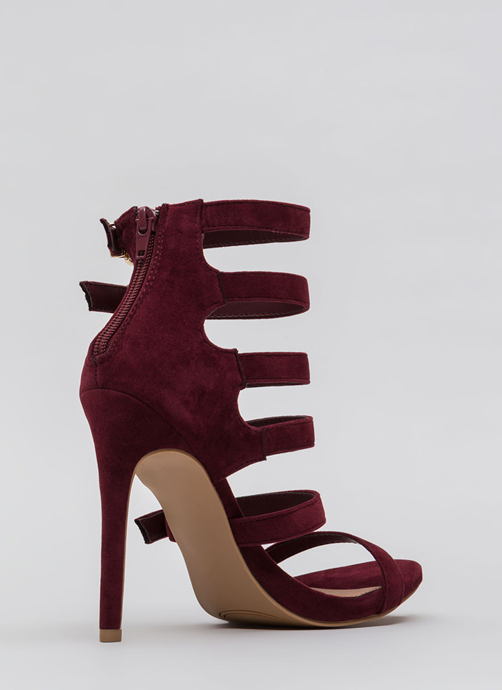 Would You Ladder Strappy Caged Heels BURGUNDY