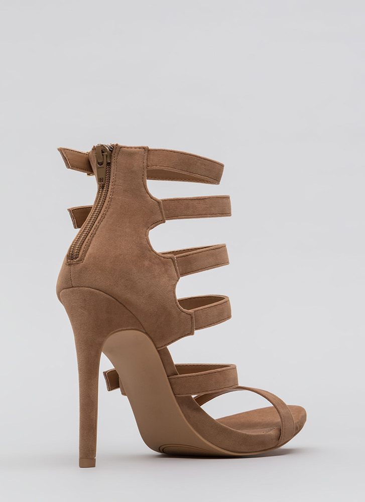 Would You Ladder Strappy Caged Heels TAUPE