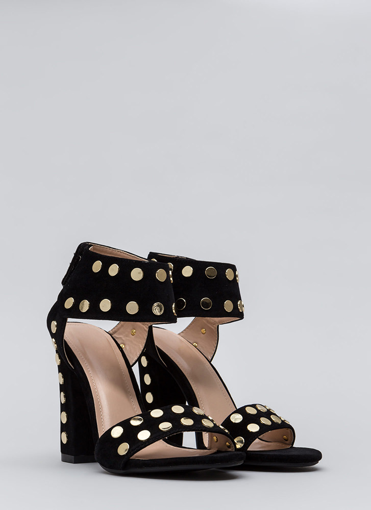 Hot Hardware Chunky Studded Heels BLACK (Final Sale)