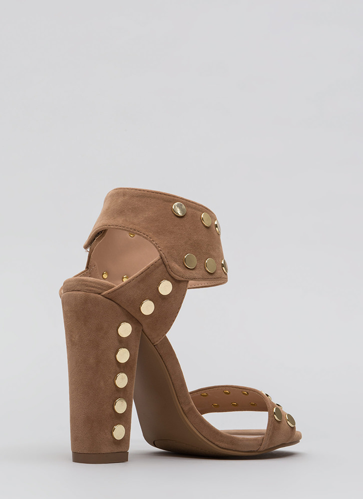 Hot Hardware Chunky Studded Heels TAUPE