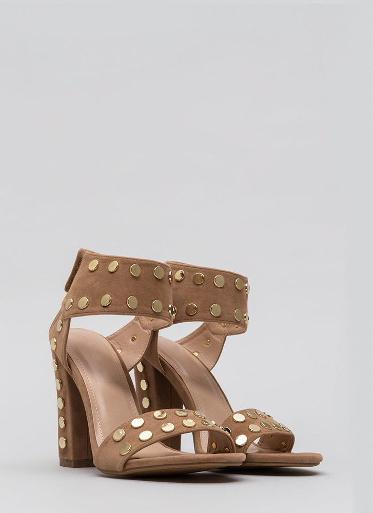 Hot Hardware Chunky Studded Heels TAUPE (Final Sale)