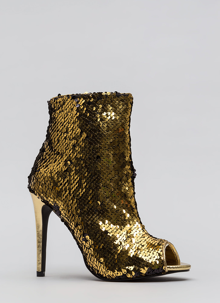 Sparks Fly Sequined Peep-Toe Booties GOLD