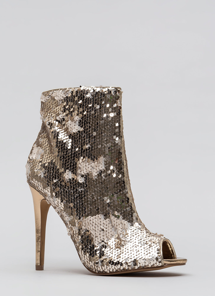 Sparks Fly Sequined Peep-Toe Booties ROSEGOLD