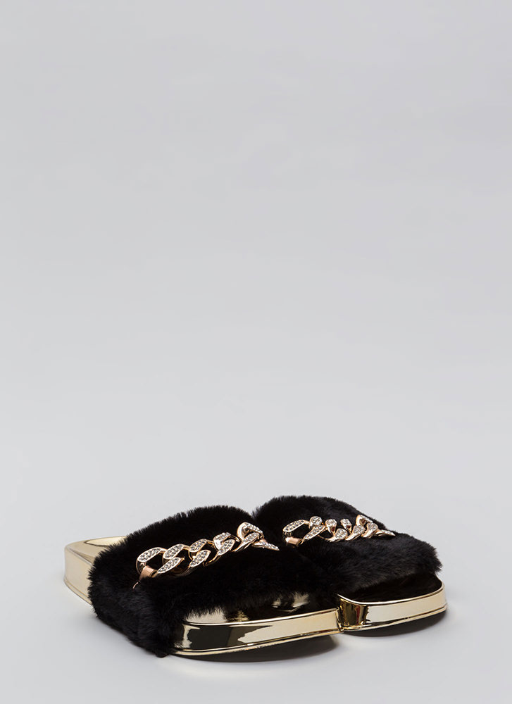 Link Up Chained Faux Fur Slide Sandals BLACK