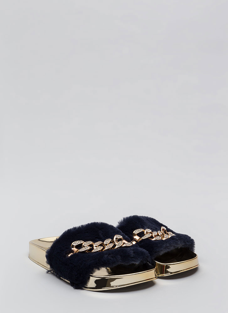 Link Up Chained Faux Fur Slide Sandals NAVY