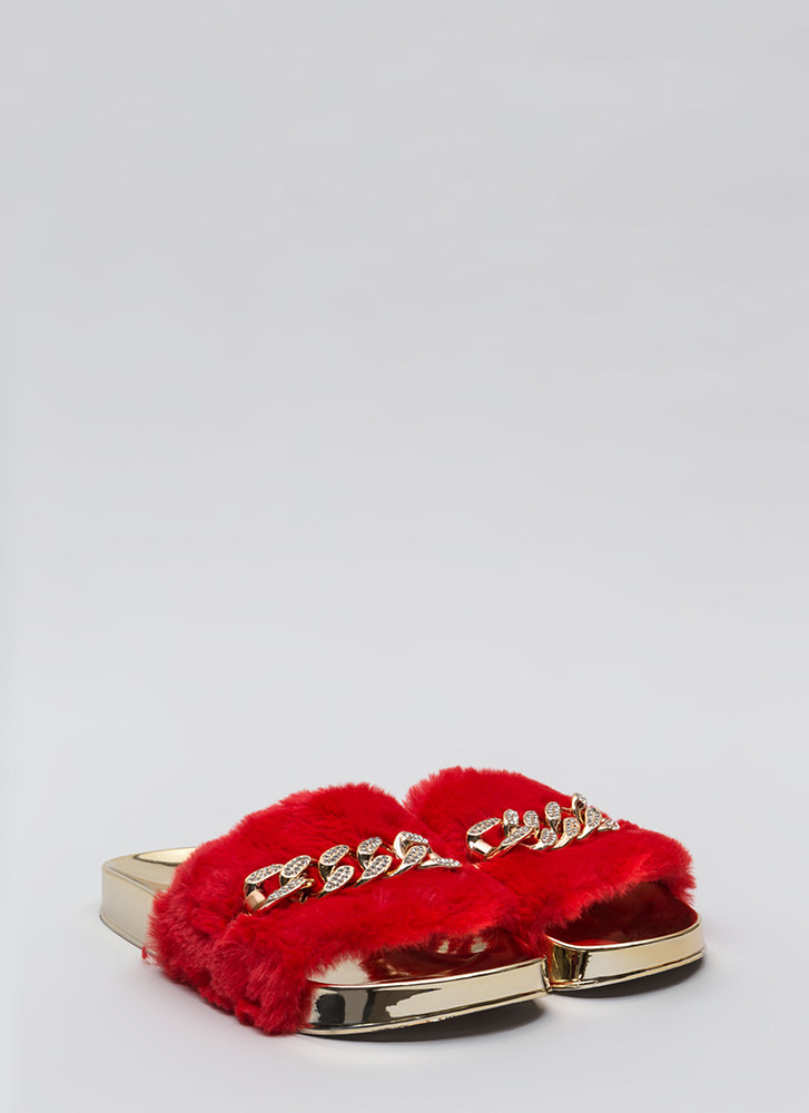 Link Up Chained Faux Fur Slide Sandals RED