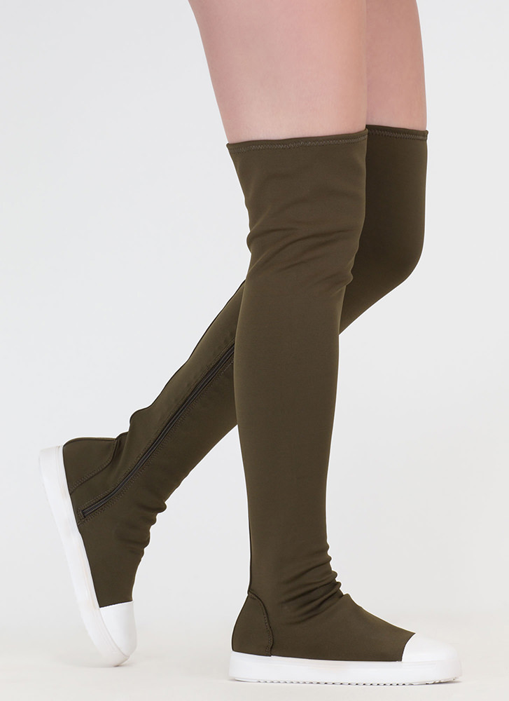 Sneaker Fiend Thigh-High Lycra Boots OLIVE