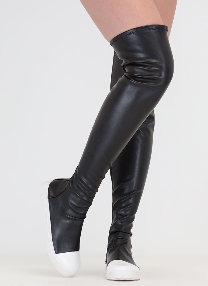 Sneaker Fiend Stretchy Thigh-High Boots BLACK