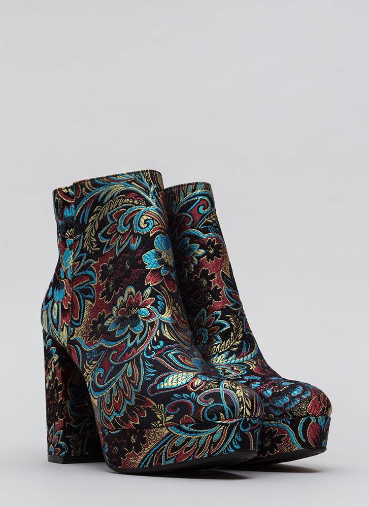 Oh So Chunky Floral Platform Booties BLACK