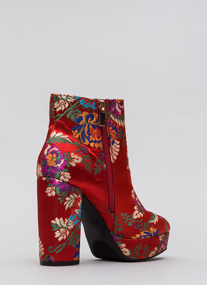 Oh So Chunky Floral Platform Booties RED