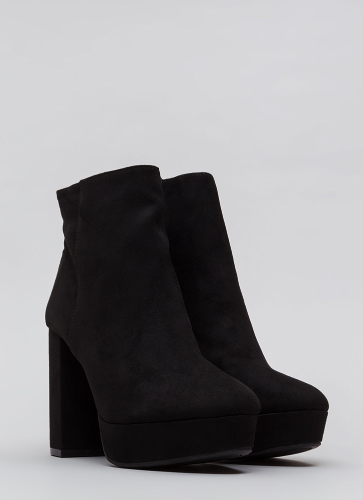Oh So Chunky Faux Suede Platform Booties BLACK