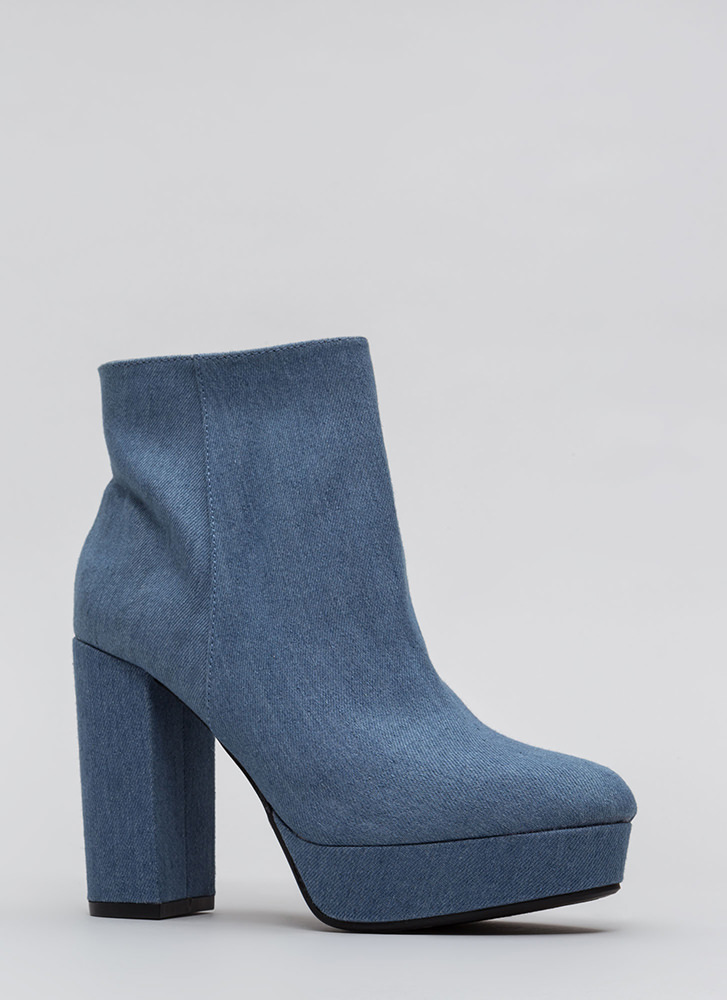 Oh So Chunky Denim Platform Booties BLUE