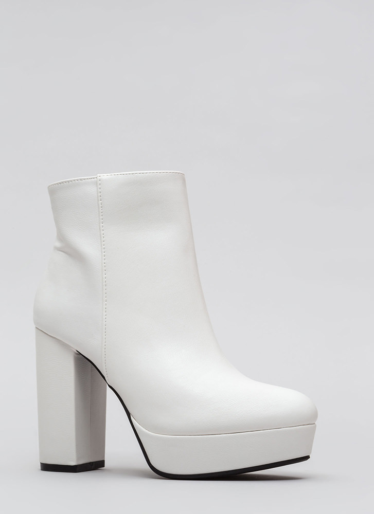 Oh So Chunky Faux Leather Booties WHITE