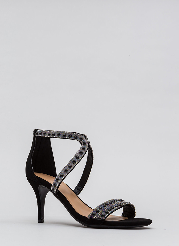 Beads The Day Jeweled Faux Nubuck Heels BLACK
