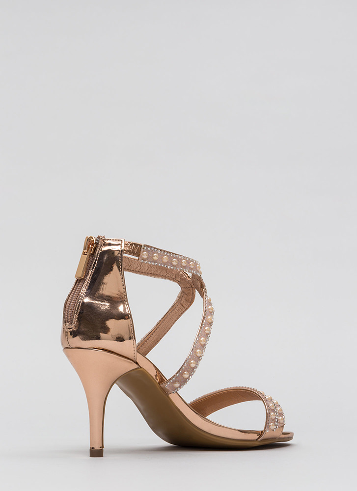 Beads The Day Jeweled Faux Patent Heels ROSEGOLD