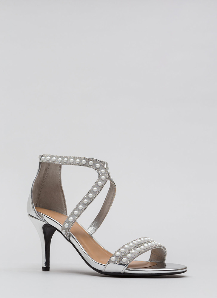 Beads The Day Jeweled Faux Patent Heels SILVER