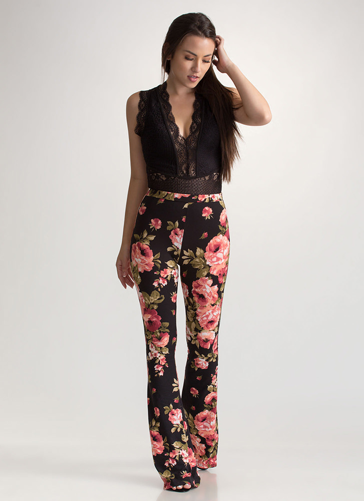 Bloom For Improvement Flared Pants BLACKCORAL