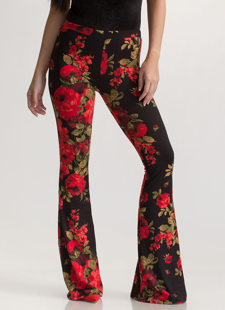 Bloom For Improvement Flared Pants BLACKRED