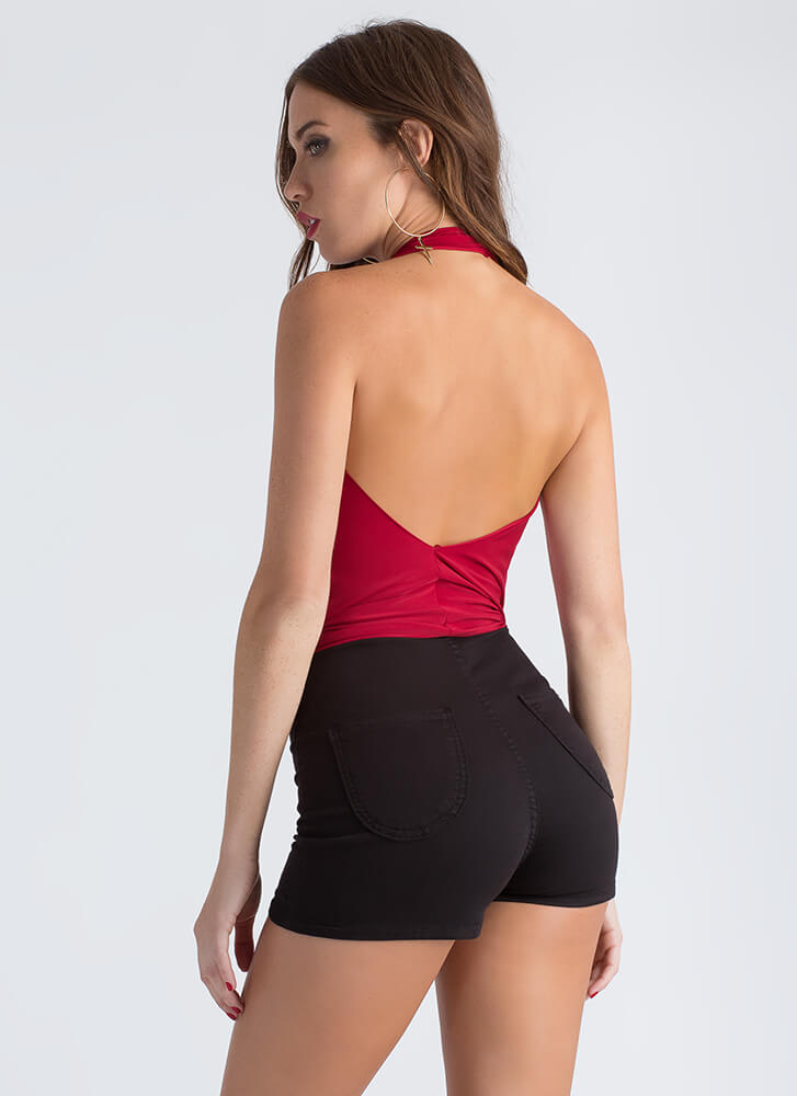 Draped Escape Plunging Halter Top RED