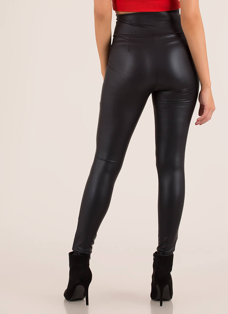 Smooth It Over Skinny Coated Pants BLACK