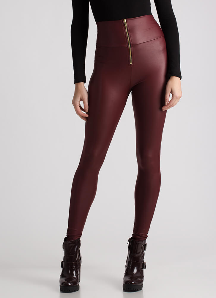 Smooth It Over Skinny Coated Pants BURGUNDY