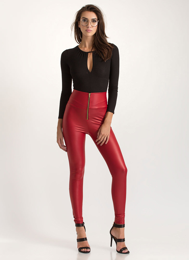 Smooth It Over Skinny Coated Pants RED