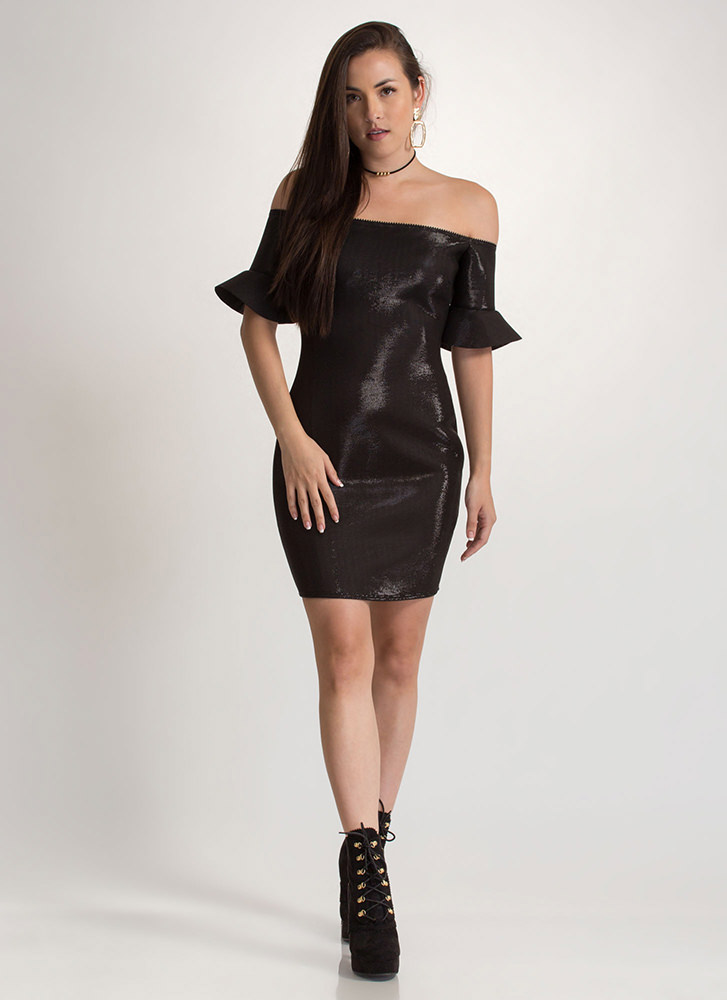 Party's Here Shiny Off-Shoulder Dress BLACK