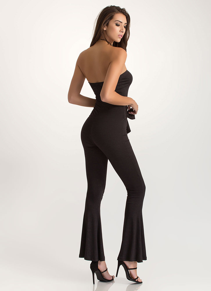 Flare Game Tied Strapless Jumpsuit BLACK