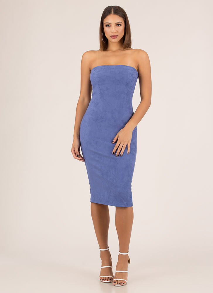 Crowd Pleaser Faux Suede Strapless Dress BLUE