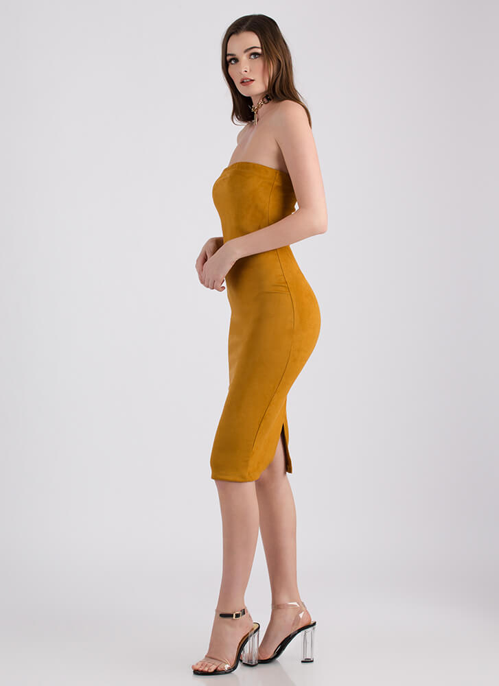 Crowd Pleaser Faux Suede Strapless Dress MUSTARD