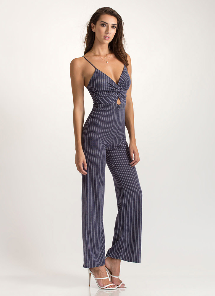 Knotty Attitude Pinstriped Jumpsuit BLUE