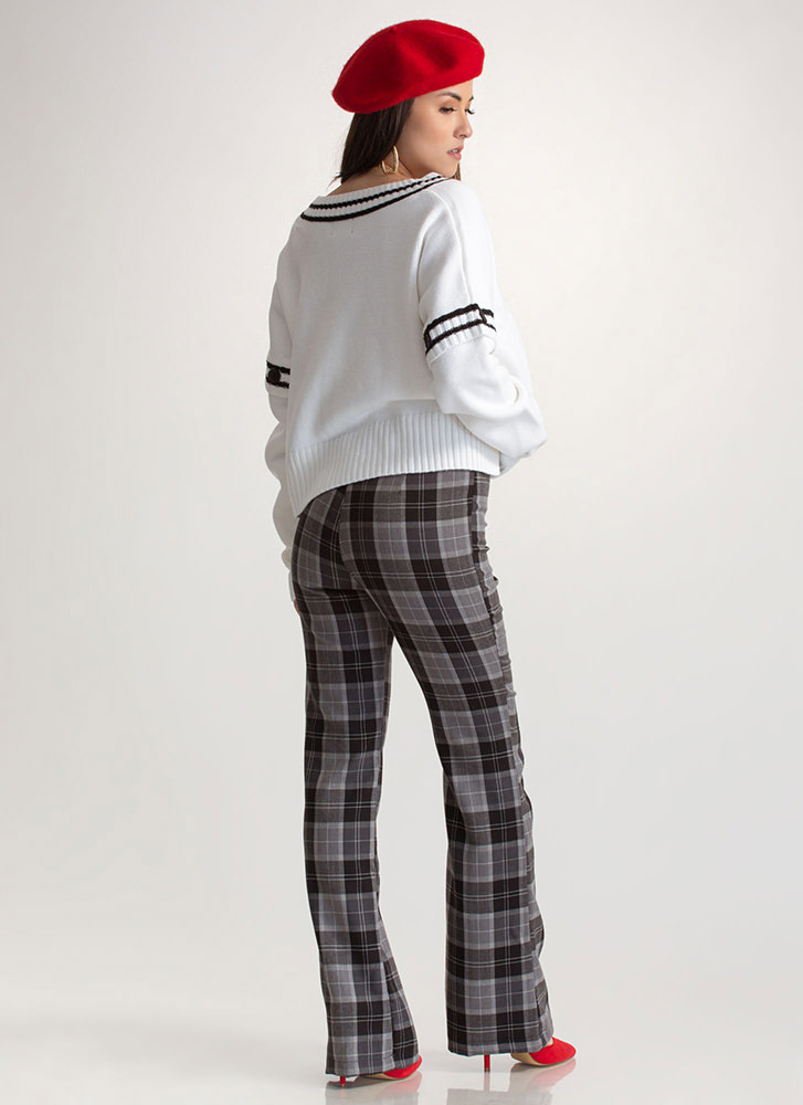 Plaid About You Flared Pants CHARCOAL