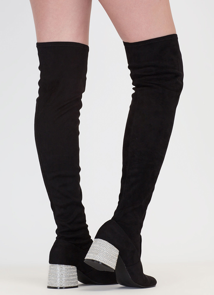 Block This Way Jeweled Thigh-High Boots BLACK