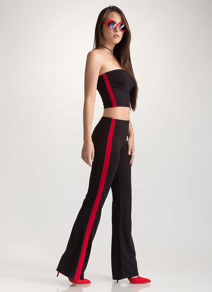 Line Time Crop Top 'N Flared Pants Set BLACK