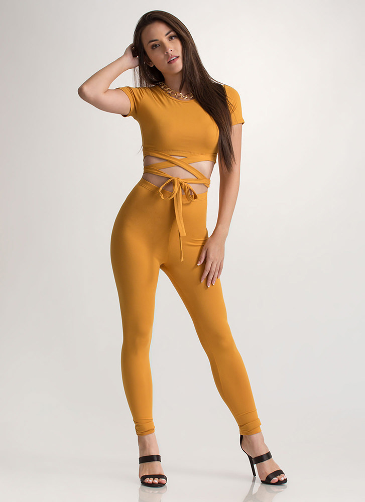 Cross Walk Tied Two-Piece Jumpsuit MUSTARD