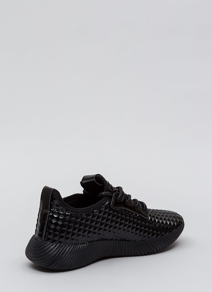 Another Dimension Faux Patent Sneakers BLACK