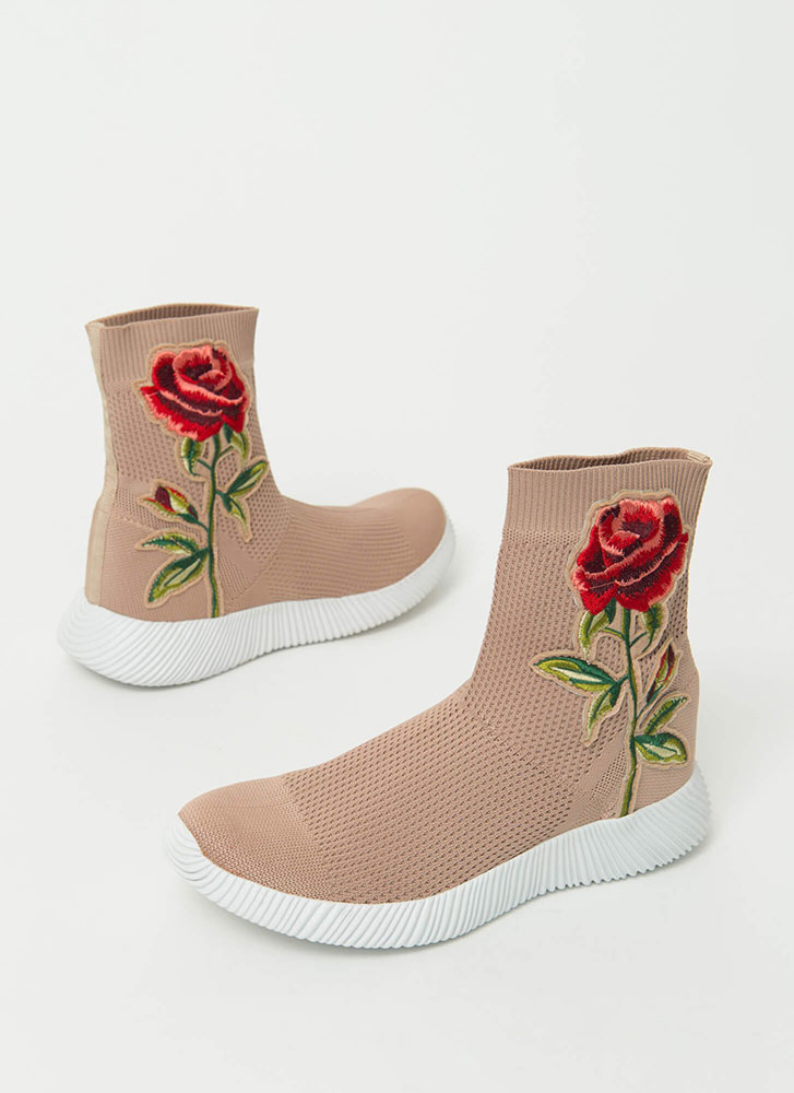 Flower Power Knit High-Top Sneakers MAUVE