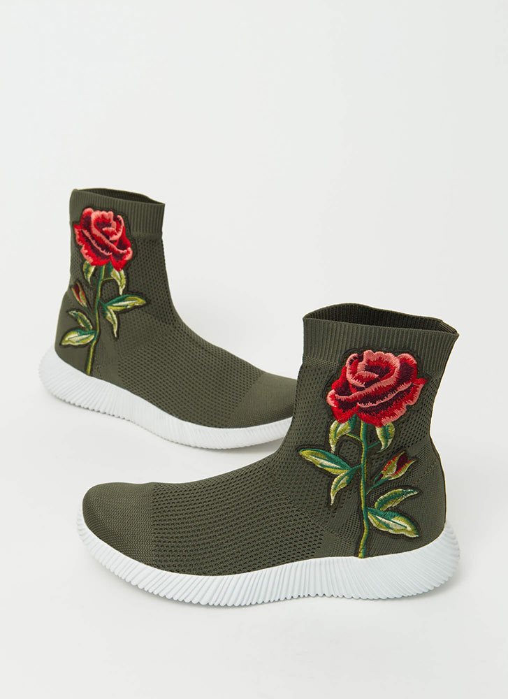 Flower Power Knit High-Top Sneakers OLIVE