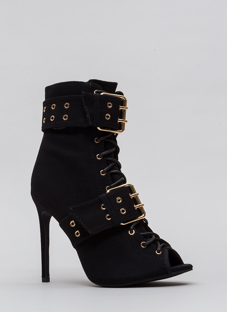 Pack A Punch Lace-Up Peep-Toe Booties BLACK
